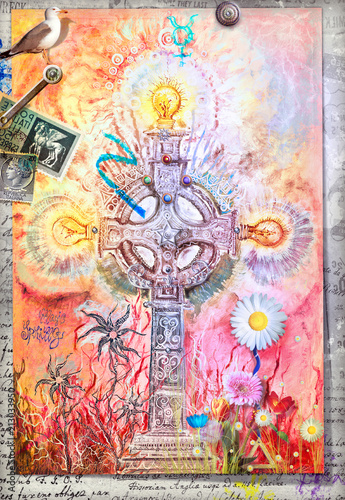 Deurstickers Imagination Mystic celtic cross with colored flowers and alchemic symbols