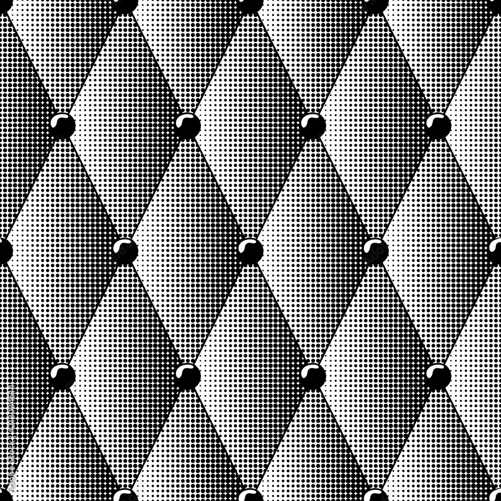 Seamless pattern of black halftone diamonds imitates leather upholstery. Background material for furniture wallpaper and interior.