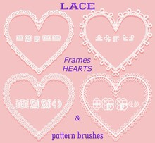 Set Of Openwork Frames In The Form Of A Heart And Corresponding Pattern Brushes On A Pink Background. Element For Decoration Of Wedding Events, Newborns And Albums.