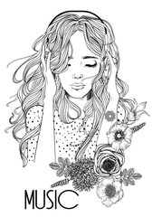 Naklejka beautiful girl with headphones