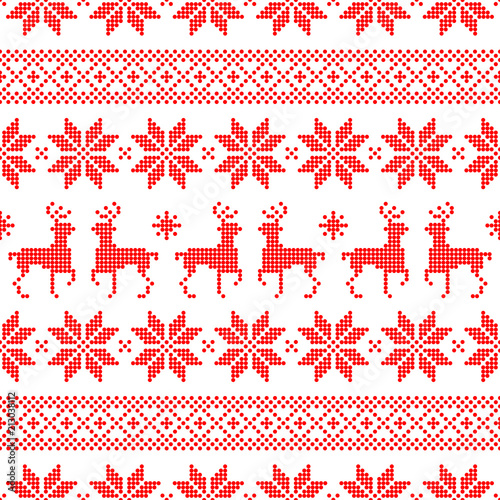 Fototapety skandynawskie seamless-dots-pattern-norwegian-style-red-white