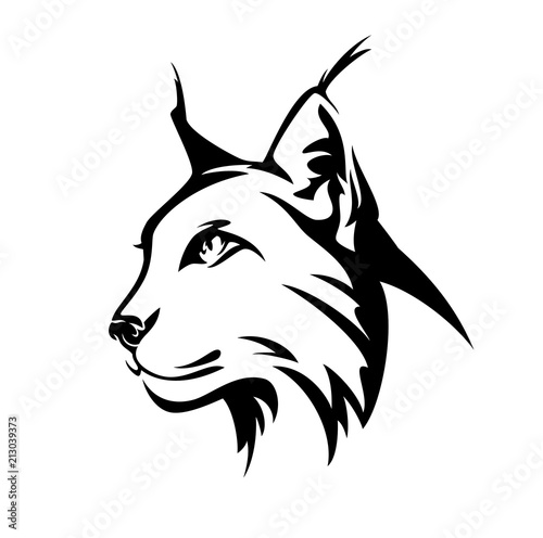 lynx profile head - wild cat side view black and white vector portrait Wallpaper Mural