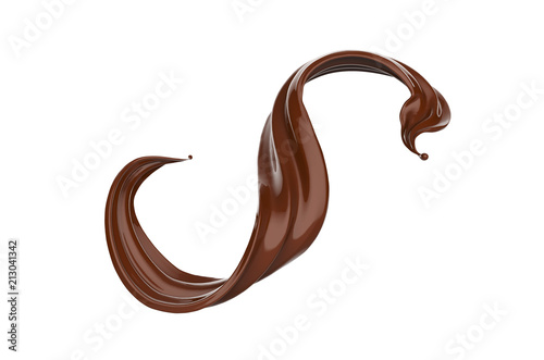 Photo Chocolate or Cocoa, brown paint pouring isolated on white background