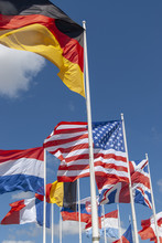 Colorful Flags At The Peace Museum Of Memorial De Caen Or D Day Museum In Caen, Normany, France