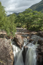 Views Of Water Falls Near Water Of Nevis And Steall Falls From A Walk From Polldubh And Achriabhach In The Foot Hills Of Ben Nevis, Highlands, Scotland
