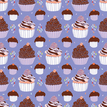 Chocolate Cupcakes Food Vector Pattern Seamless, Hand Drawn Illustration For  Party Stationery, Cafe Menu, Bakery Packaging, Gift Wrap & Cookery Blog Backgrounds,  Cherry, Strawberry Icing