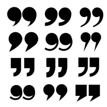 Quote Mark Icon Vector Set, Collection
