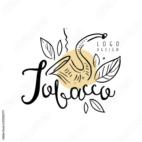 Tobacco Logo Hand Drawn Design Element Can Be Used For Smoke Shop