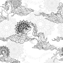 Unicorn And Cloud And Mandala Design For Fantasy  Porcelain Black And White Tone Seamless Pattern Vector