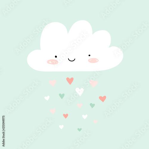 Fotografia  Nursery art with happy smiling cloud and hearts rain