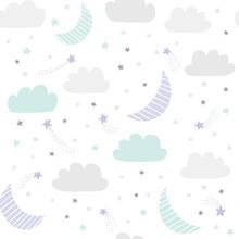 Cute Night Sky Vector Pattern ...