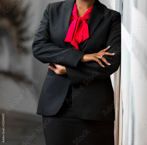 Cropped head African Business Woman in corporate attire Canvas Print
