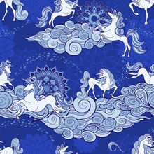 Unicorn And Cloud And Mandala Design For Fantasy  Porcelain Blue And White Tone With Blue Seamless Pattern Vector