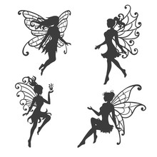 Set Of Beautiful Fairy Silhoue...