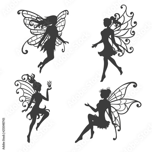 Fotografie, Tablou Set of beautiful Fairy silhouettes. Vector collection.