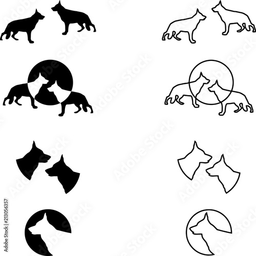 Foto  Deutscher Schäferhund, Sammlung, Logos, Aufkleber, Label