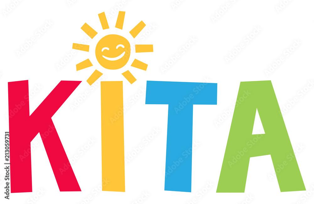Fototapeta Kita - Fröhlich bunte Buchstaben mit Sonne als i Punkt