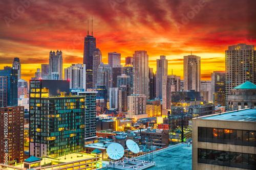 Poster Chicago Chicago, Illinois, USA Dawn Skyline