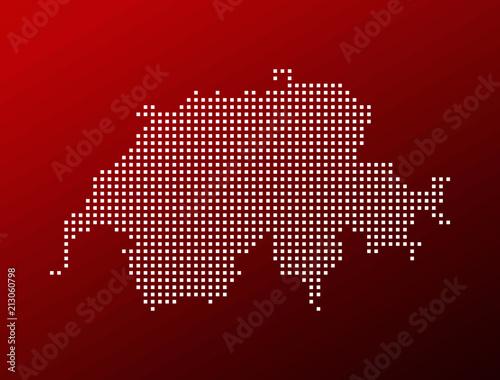 Fotografie, Obraz  Switzerland white pixel map on red background vector