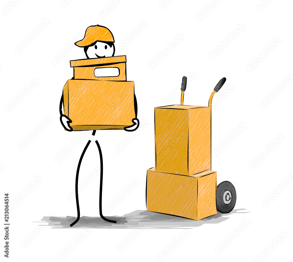 Fototapety, obrazy: déménagement transport de cartons