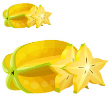 Star Fruit Carambola . Cartoon Vector Icon