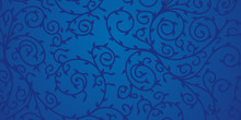 Blue Floral Ornament Design For Background. Dark Swirls And Leaves On Blue Surface.