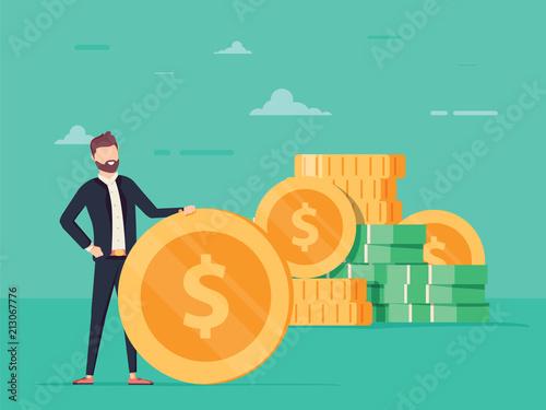 Fototapeta Handsome positive businessman is holding a huge golden dollar coin. Earning, saving and investing money concept. obraz