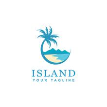 Beach And Island Logo Design, Vector Design Of Circular Beach Icons
