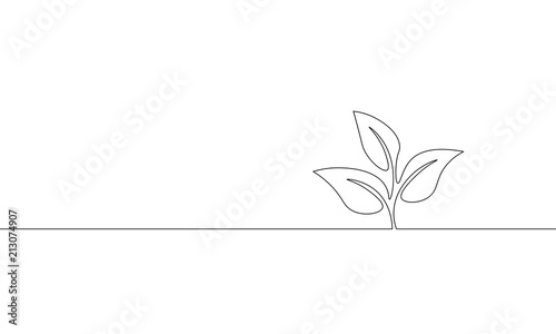 Obraz Single continuous line art growing sprout. Plant leaves seed grow soil seedling eco natural farm concept design one sketch outline drawing vector illustration - fototapety do salonu