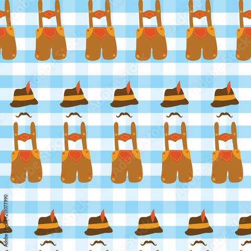 Fotografie, Obraz  Lederhosen Oktoberfest hat, and mustache Oktoberfest seamless vector pattern