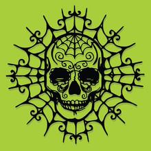 Paper Cut Silhouette Halloween Skull Web