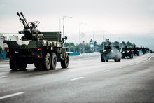 General Rehearsal Of The Military Parade In Belarus. Military Equipment Rides Through City Streets. Heavy Fighting Vehicles