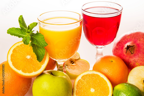 Ripe fruit and juice.