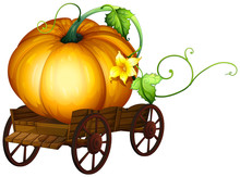 A Big Pumpkin On Wooden Cart