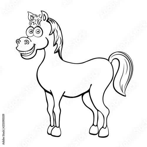 Fotobehang Cartoon draw Horse cartoon outline drawing, coloring, sketch, silhouette, vector black and white line illustration. Funny cute painted animal isolated on white background, animated character, children print