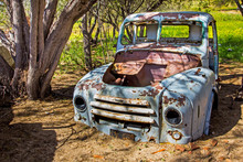 Wrecked And Abandoned Old Blue Truck