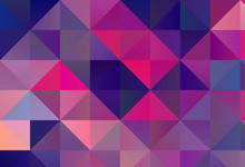 Bright Ultraviolet Geometric Background With Triangles Of Different Shapes And Scales. Triangulation Pattern.