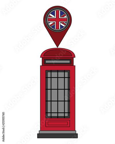 london telephone box british flag in pin map Wallpaper Mural