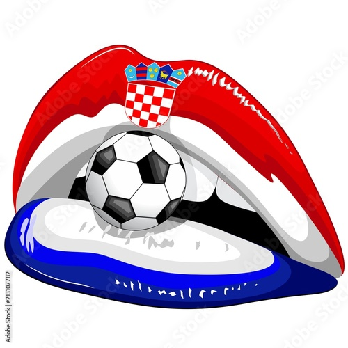 Staande foto Draw Croatia Flag Lipstick Soccer Supporters with Soccer Ball and Chequered Shield Emblem