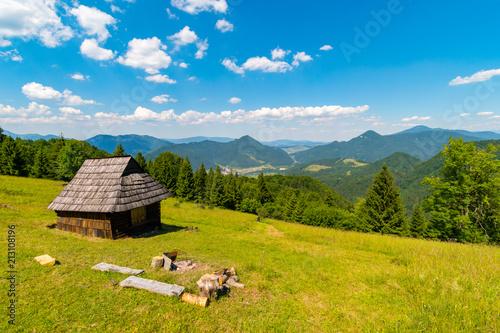 Obraz Shelter cabin hut with view to valley, Velka Fatra, Western Carpathians, Slovakia - fototapety do salonu