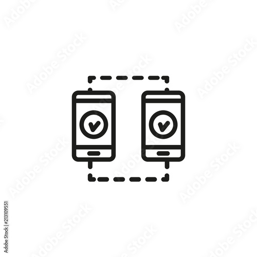 Two mobile phones with tick sign line icon  Mobile