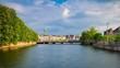 sunny zurich city river traffic bridge panorama 4k timelapse switzerland