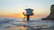 Life Guard Tower And Sunset At Cardiff Beach, San Diego.