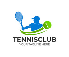 Tennis And Tennis Player Hits The Ball With A Tennis Racket, Logo Template. Active Sport And Tennis Tournament, Championship, Vector Design And Illustration