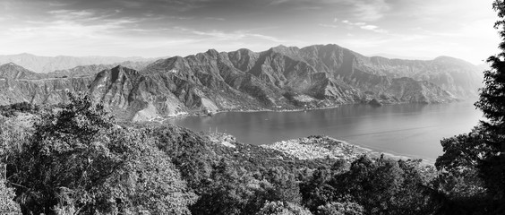 FototapetaPanorama Of Lake Atitlan Black and White