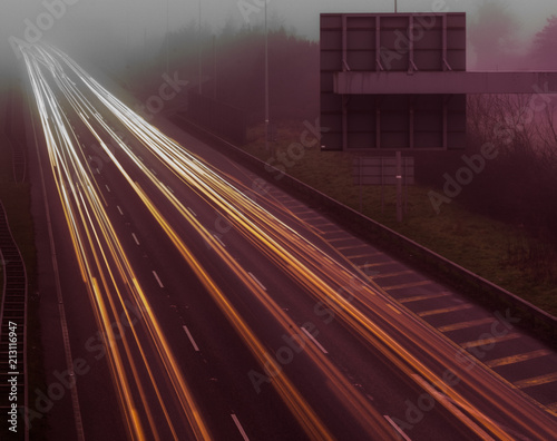 Tuinposter Nacht snelweg Light Trails Motorway