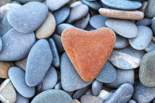 Stone Red Heart Lies On The Pebble Concept Of Love