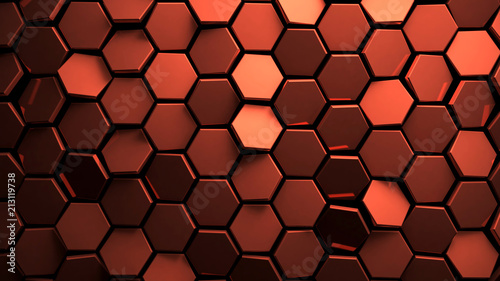Fototapeta Displaced copper abstact hexagons background 3d render obraz