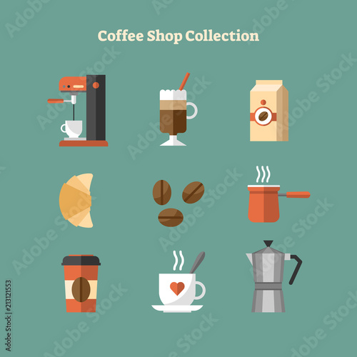 Vector flat illustration with coffee shop collection icon set Poster