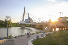 Cyclists Along Red River In A ...